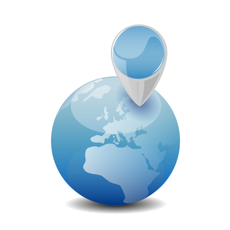 environment geography: search, news, eco, environment, gps, navigation, planet concept - blue globe with map pin illustration