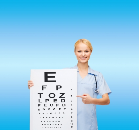 healthcare, medicine, advertisement and sale concept - smiling female doctor or nurse with stethoscope and eye chart photo