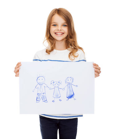 creation, art, family, happiness and painting concept - smiling little child holding picture of family photo