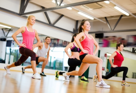 aerobics class: fitness, sport, training, gym and lifestyle concept - group of smiling people exercising in the gym