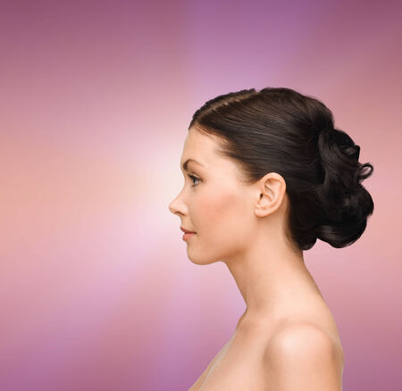 woman face profile: beauty, spa and health concept - smiling young woman Stock Photo
