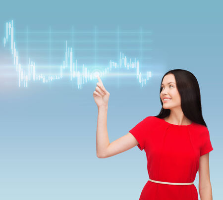 business, new technology and money concept - attractive young woman in red dress pointing her finger at forex chart Stock Photo - 24221519