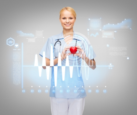 healthcare and medicine concept - smiling female doctor or nurse with heart, stethoscope and cardiogram photo