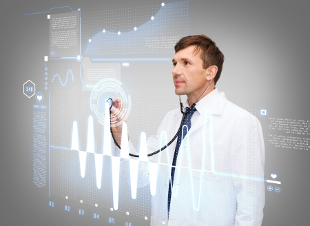 new medicine: healthcare, new technology and medicine concept - middle-age male doctor with stethoscopeand cardiogram