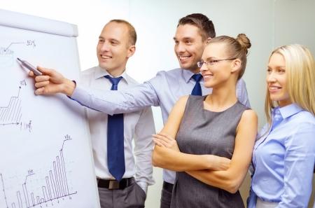 ビジネスおよびオフィス コンセプト - ビジネスの笑みを浮かべてチームの議論を持つフリップ ボード上のグラフ