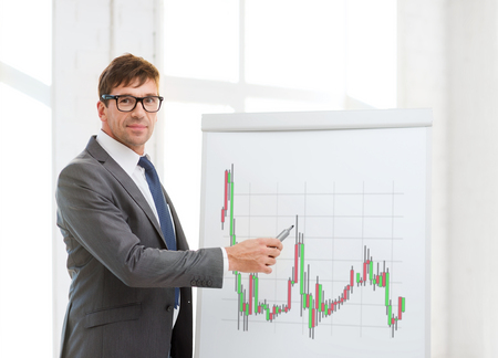 business, office and money concept - businessman in suit and black eyeglasses pointing to flip board with forex chart in office photo