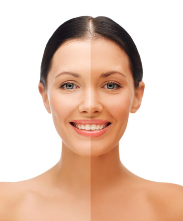 tanned: beauty and health concept - beautiful woman with half face tanned