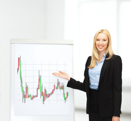 bussiness and money concept - businesswoman with flipboart and forex chart on it in office Stock Photo - 24371297