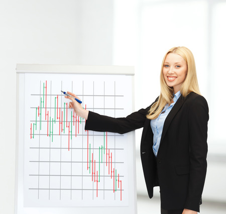 bussiness and money concept - smiling businesswoman drawing forex chart on flipboard in office Stock Photo - 24371296