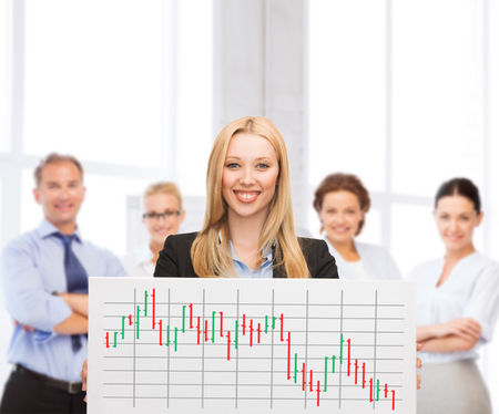 business, money and office concept - smiling businesswoman with white board and forex chart on it in office photo
