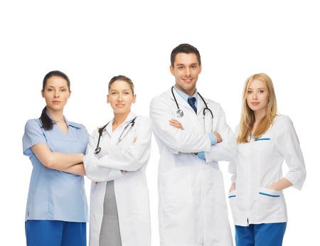 gezondheidszorg en de geneeskunde concept - jong team of groep van artsen