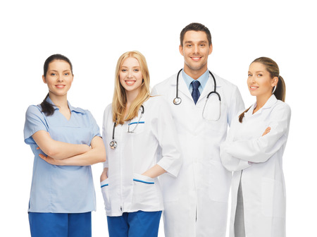 physiotherapists: healthcare and medicine concept - young team or group of doctors