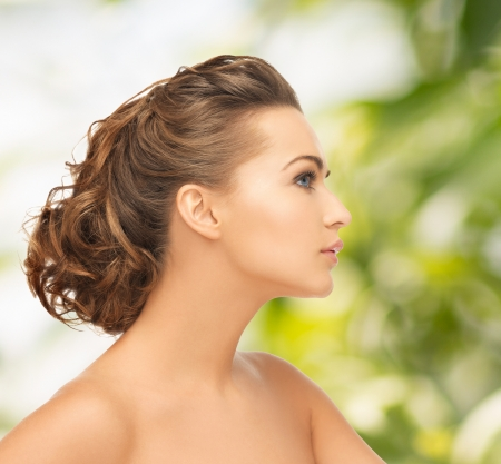 health and beauty concept - face of beautiful bride with evening updo Stock Photo - 24489185