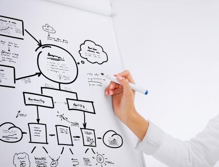 le concept d'affaires, bureau, école et l'éducation - femme d'affaires travaillant avec le conseil bascule dans le bureau Banque d'images