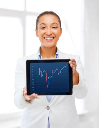 office, business, technology and money concept - businesswoman with tablet pc and forex chart in it in office photo