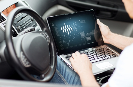 transportation and vehicle concept - man using laptop computer in car photo