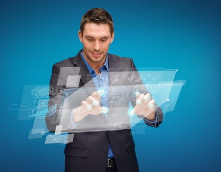 digi: business, technology, communication concept - businessman working with imaginary virtual screen