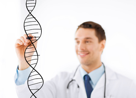 medicine, health and hospital concept - smiling doctor drawing dna molecule on virtual screen photo