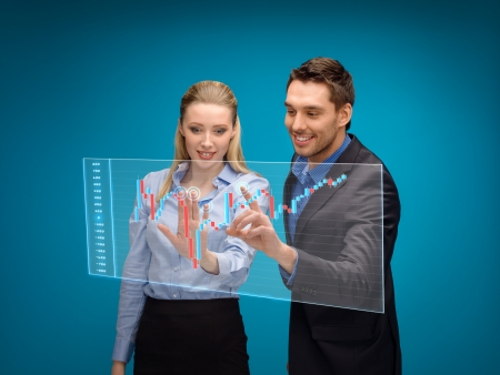 business, technology and money concept - businesswoman and businessman working with forex chart on virtual screen