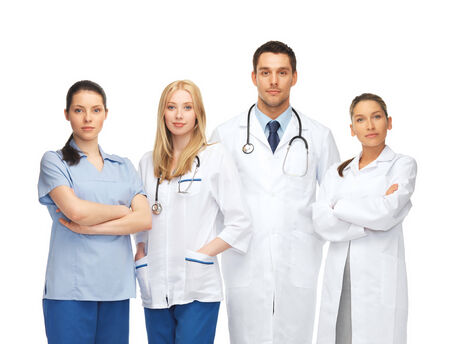 clinical staff: healthcare and medical - young team or group of doctors Stock Photo