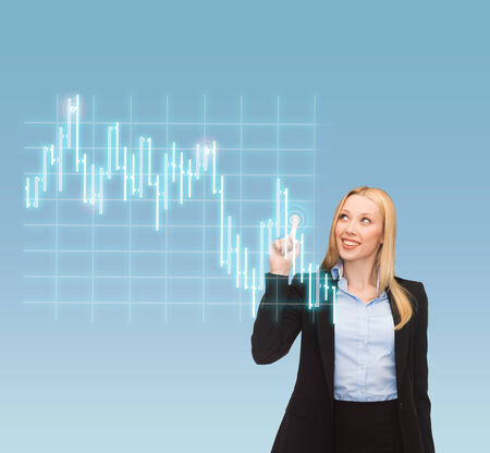 business, money and new technology - smiling businesswoman pointing to forex chart on virtual screen Stock Photo - 24490315