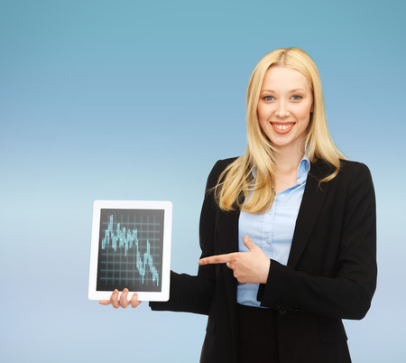 business , money and technology concept - smiling businesswoman with tablet pc and forex chart in it Stock Photo - 24490316