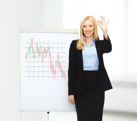 bussiness and money concept - smiling businesswoman with flipboard and forex chart on it in office photo