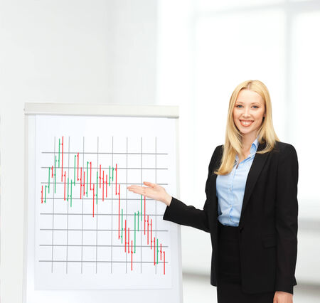 bussiness and money concept - businesswoman with flipboart and forex chart on it in office Stock Photo - 24490260