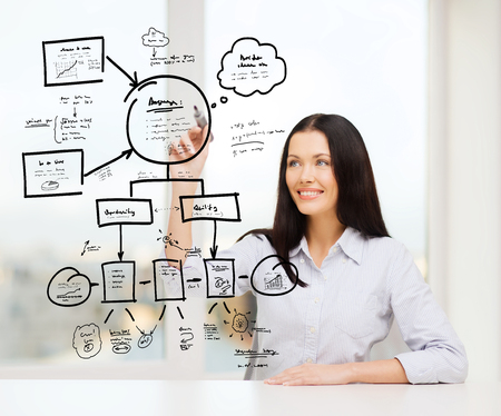 business, education and technology concept - smiling woman writing on virtual screen photo