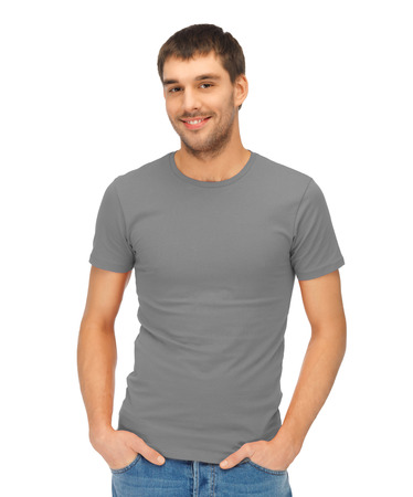 handsome man in blank grey t-shirt photo