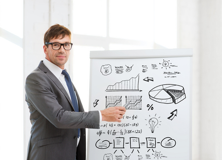 business research: businessman pointing to flip board in office Stock Photo