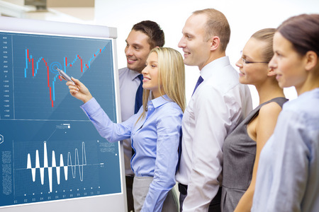 young entrepreneurs: smiling business team with forex chart on flip board having discussion