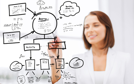 smiling businesswoman drawing plan on virtual screen with marker Stock Photo - 24528483