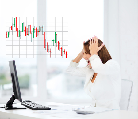 computer problem: business, office, problem, money and stress concept - stressed businesswoman with computer at work