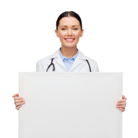 healthcare, advertisement and medicine concept - smiling female doctor with stethoscope with white blank board photo