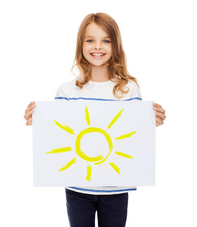 creation, art, family, happiness and painting concept - smiling little child holding picture of sun photo