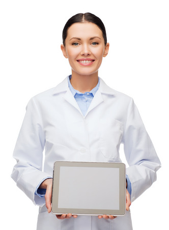 healthcare, technology, advertisement and medicine concept - smiling female doctor with blank black tablet pc screen photo