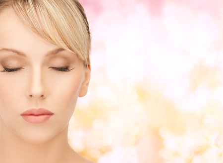 sensitive skin: health, spa and beauty concept - face of beautiful woman with blonde hair
