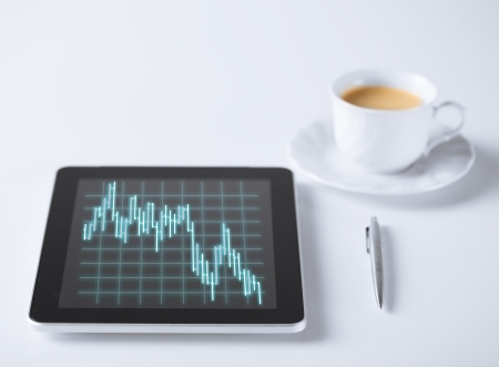 business, money and technology concept - tablet pc with forex chart on it and cup of coffee photo