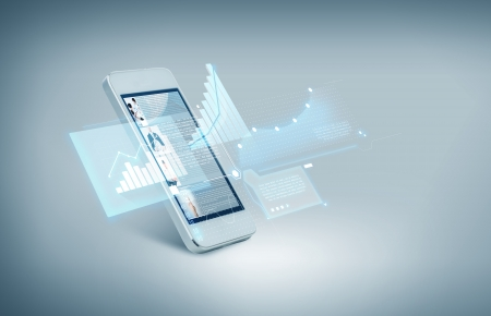 gadget: technology and electronics concept - white smarthphone with charts on screen Stock Photo