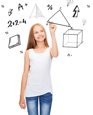 beautiful preteen girl: education and new technology concept - smiling teenage girl in blank white shirt drawing triangle on virtual screen Stock Photo