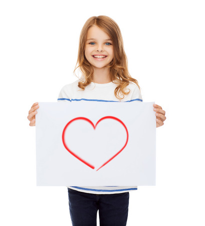 creation, art, family, happiness and painting concept - smiling little child holding picture of red heart photo