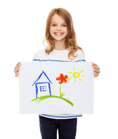creation, art, family, happiness and painting concept - smiling little child holding picture of house photo