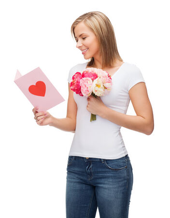 lowers: love, holidays and happiness concept - smiling girl with postcard and bouquet of lowers