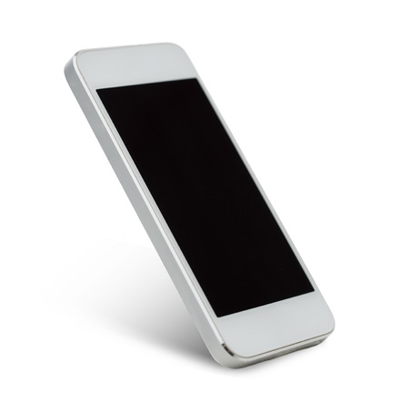 respond: technology and advertisement concept - white smarthphone with black blank screen