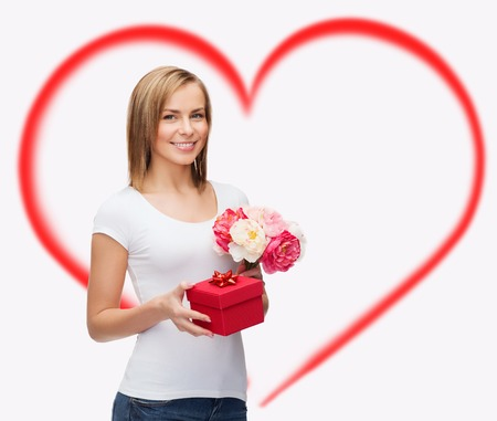 holidays, love and flowers concept - young woman with bouquet of flowers and red gift box Stock Photo - 25509127