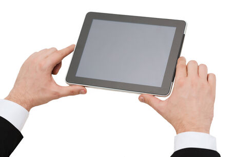 business, internet and technology concept - close up of man hands holding tablet pc
