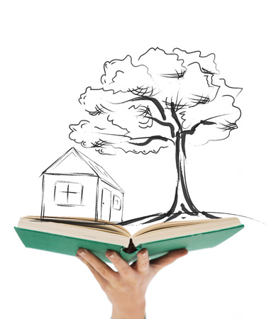 education, real estate and accomodation concept - close up of woman hand holding open green book photo