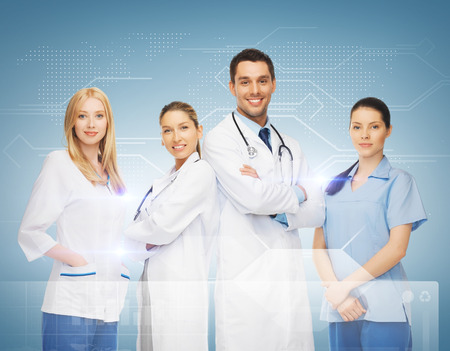 family health: healthcare and medicine concept - young team or group of doctors