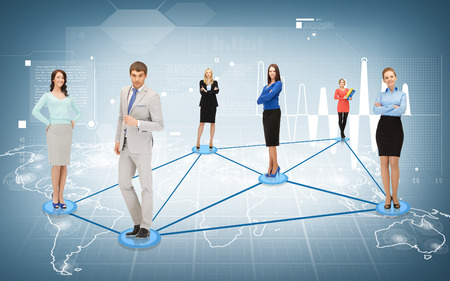 business and networking concept - social or business network photo